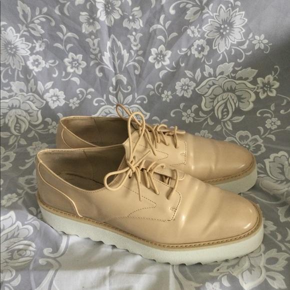 Zara Basic women tan Derby Oxford patent leather 9